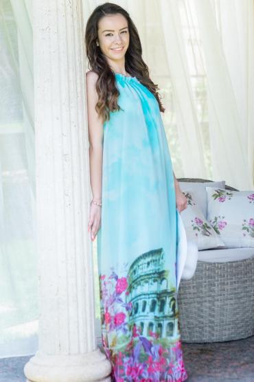 Vestiti Eleganti Azzurri.Mom Friend Abito Vestito Lungo Elegante In Chiffon Azzurro Con Stampa Della Citta Eterna Da Donna Roma