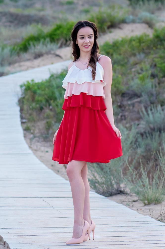 finest selection e4e83 d1b2a Mom-Friend | Abito / vestito in georgette di seta in tre colori - ecru,  rosa chiaro e rosso donna *Poppy*